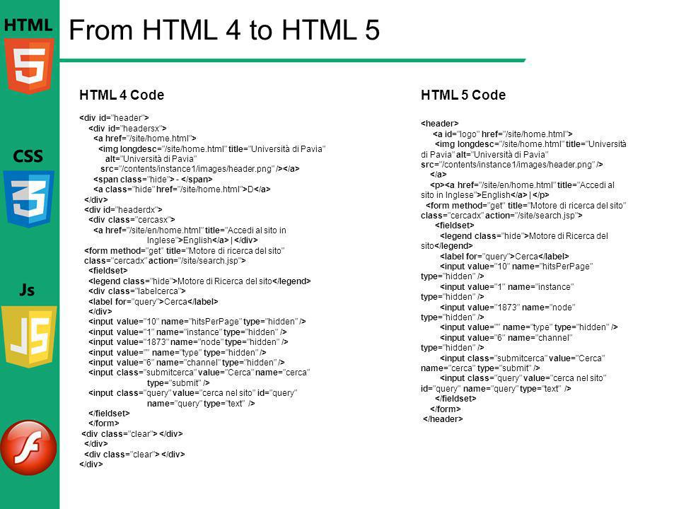 From HTML 4 to HTML 5 HTML 4 Code HTML 5 Code <div id= header >