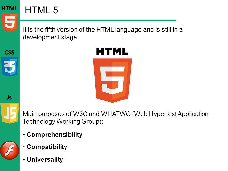 HTML 5 It is the fifth version of the HTML language and is still in a development stage.