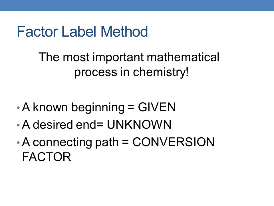 The most important mathematical process in chemistry!