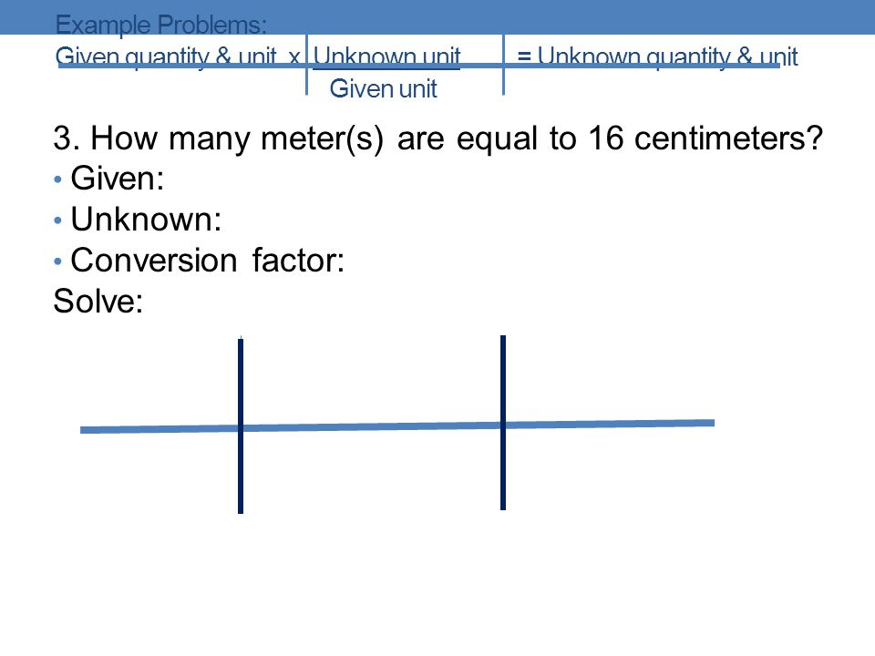 3. How many meter(s) are equal to 16 centimeters Given: Unknown: