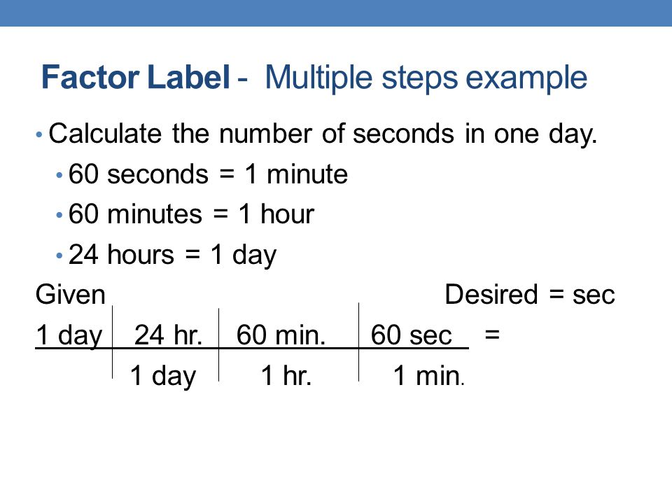 Factor Label - Multiple steps example
