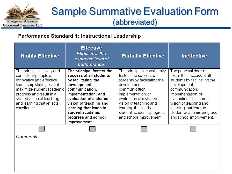 Stronge Leader Effectiveness Performance Evaluation System  Ppt