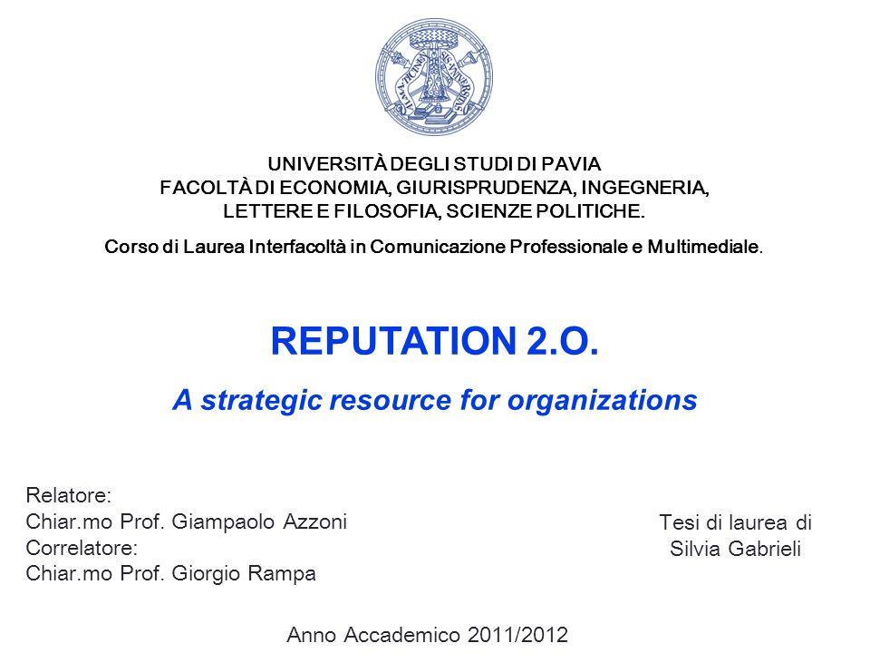 REPUTATION 2.O. A strategic resource for organizations Relatore: