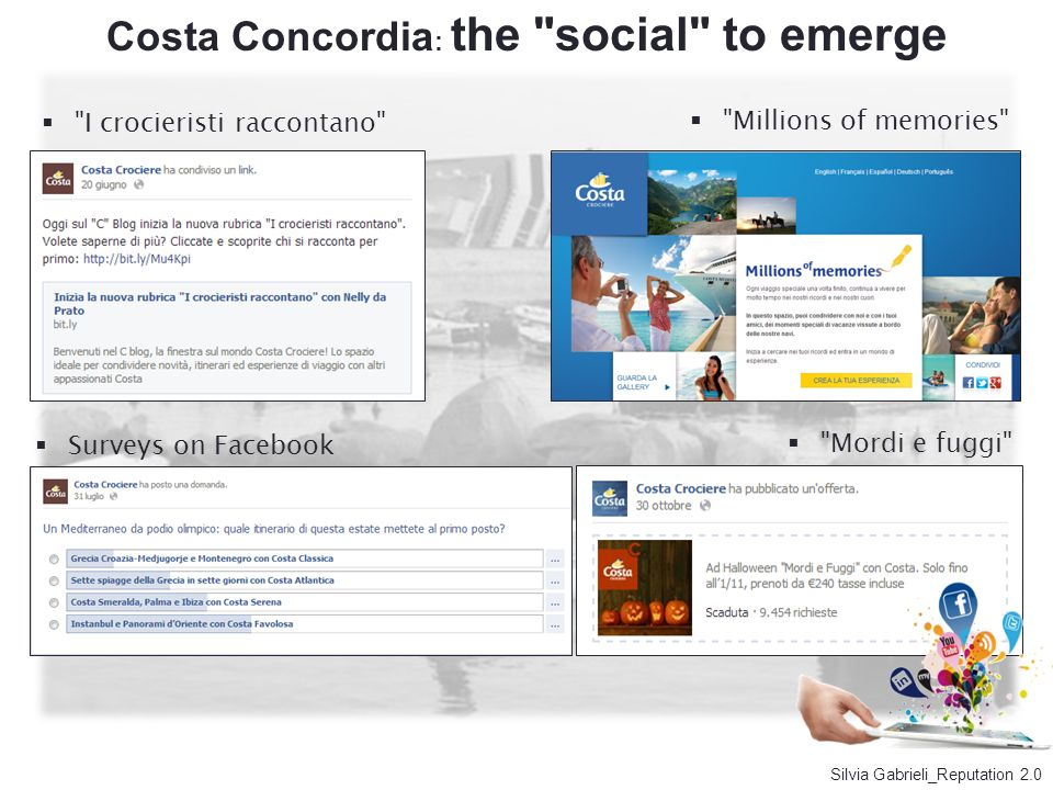 Costa Concordia: the social to emerge