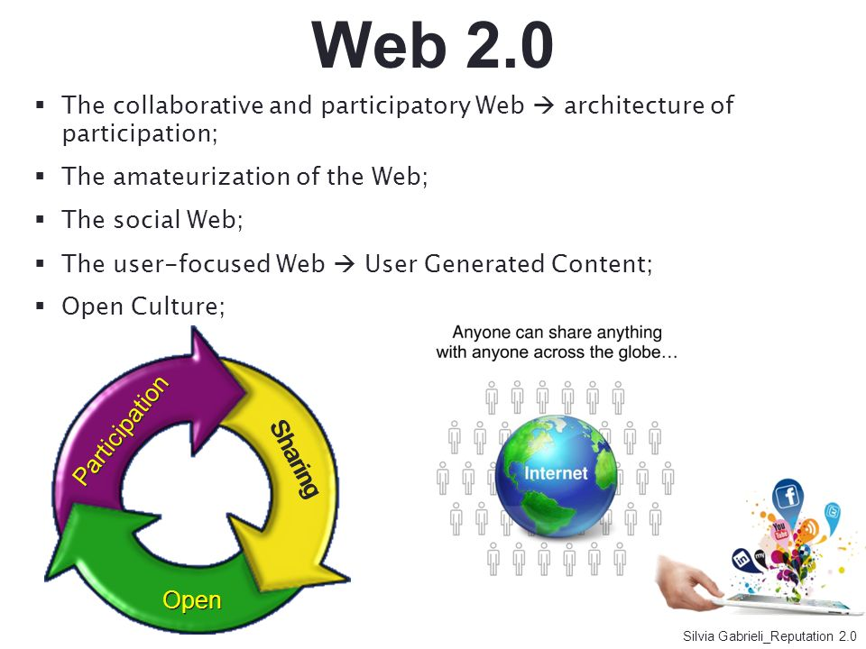 Web 2.0The collaborative and participatory Web  architecture of participation; The amateurization of the Web;