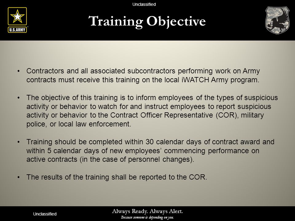 Unclassified Training Objective.