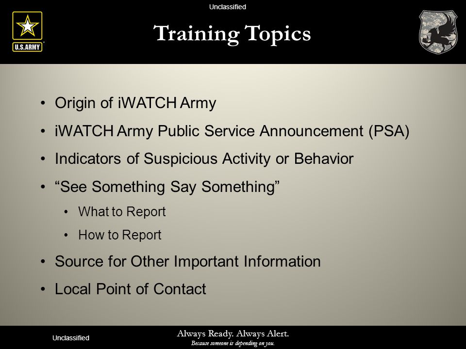 Training Topics Origin of iWATCH Army