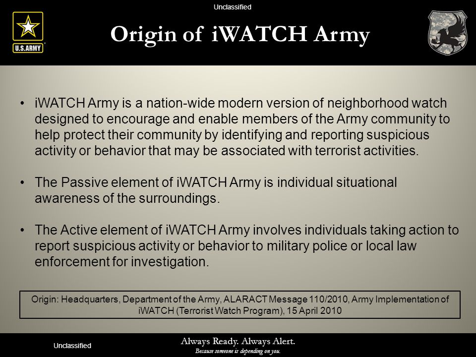Unclassified Origin of iWATCH Army.