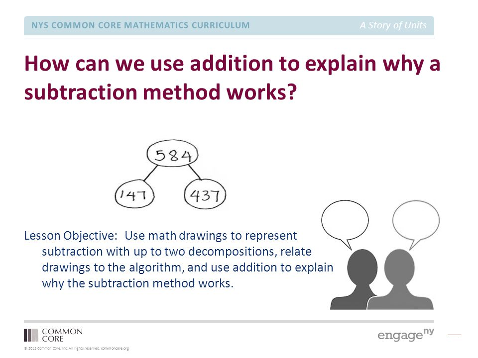 How can we use addition to explain why a subtraction method works