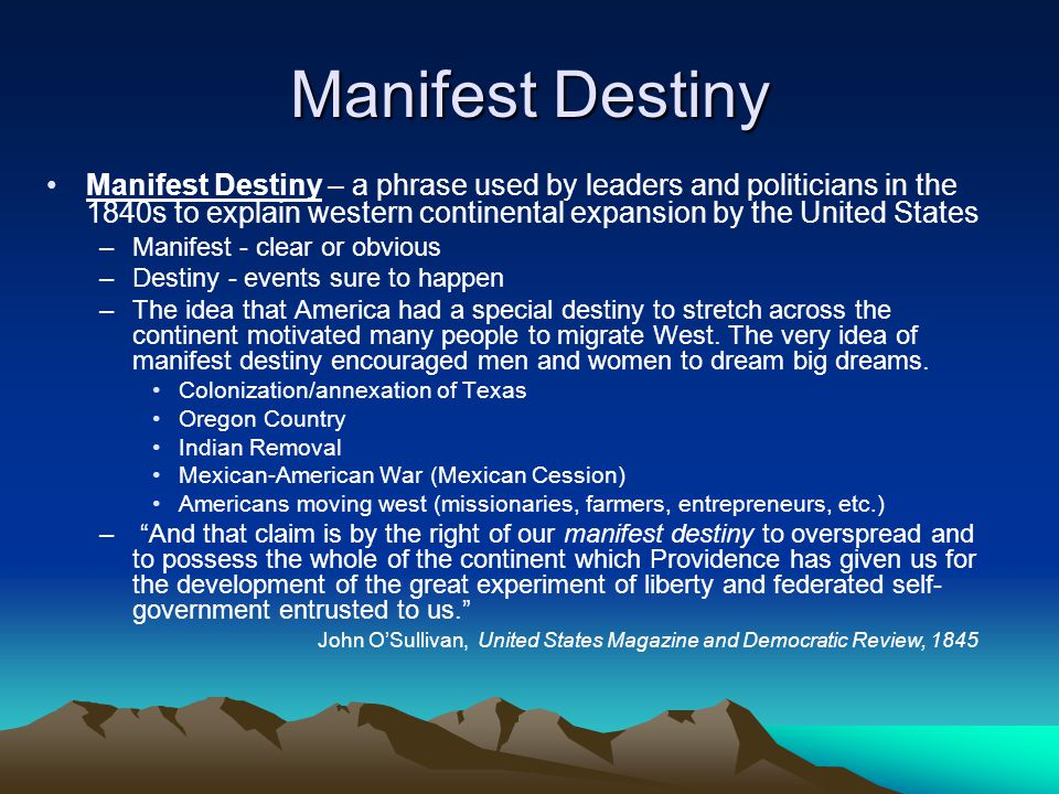 "manifest destiny the dream The west, and jefferson, monroe, and adams all expressed expansionist  dreams  americans justified the expansion with the ideology of ""manifest  destiny,""."