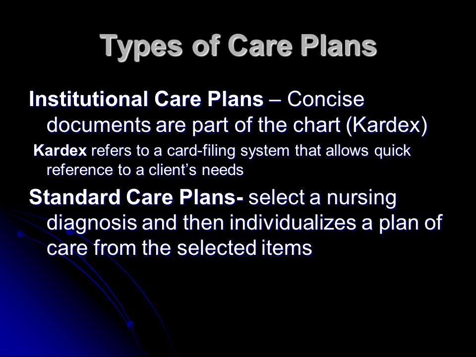 Types of Care Plans Institutional Care Plans – Concise documents are part of the chart (Kardex)