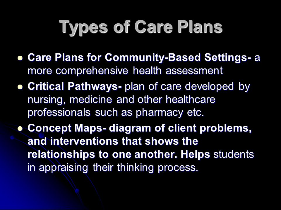 Types of Care Plans Care Plans for Community-Based Settings- a more comprehensive health assessment.