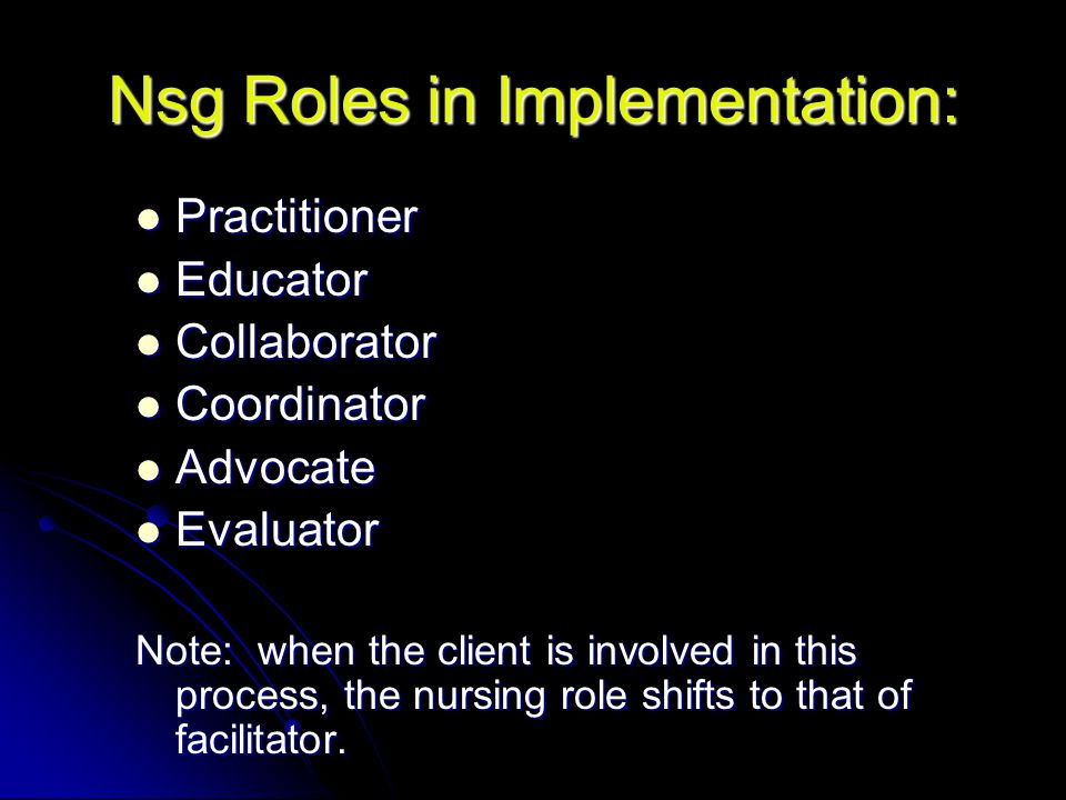 Nsg Roles in Implementation: