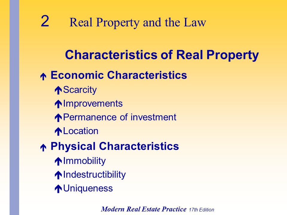 Characteristics of Real Property