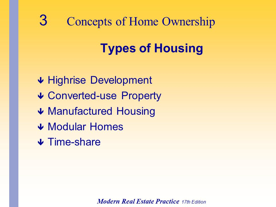 3 Concepts of Home Ownership