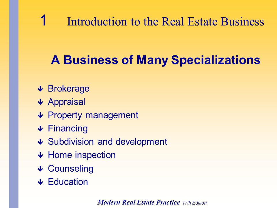 A Business of Many Specializations