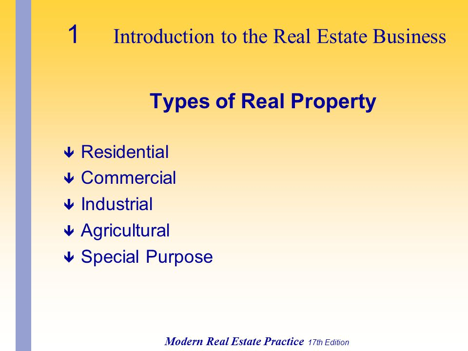 1 Introduction to the Real Estate Business