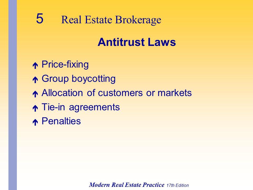 5 Real Estate Brokerage Antitrust Laws Price-fixing Group boycotting