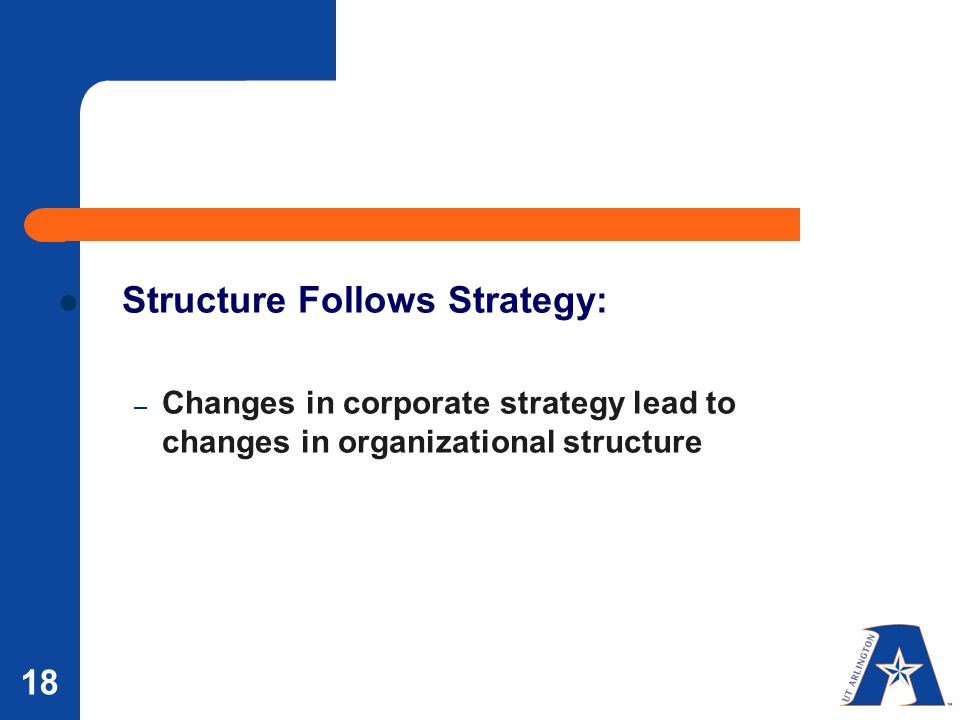 structure follows strategy Abstract researchers have for some time been interested in the relationship between the strategy and structure of an organization in this article the authors discuss the most widely-held.