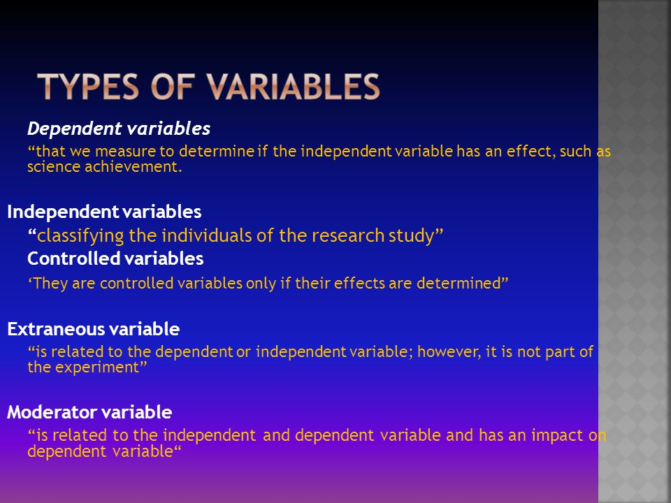 three types of research variables relationship
