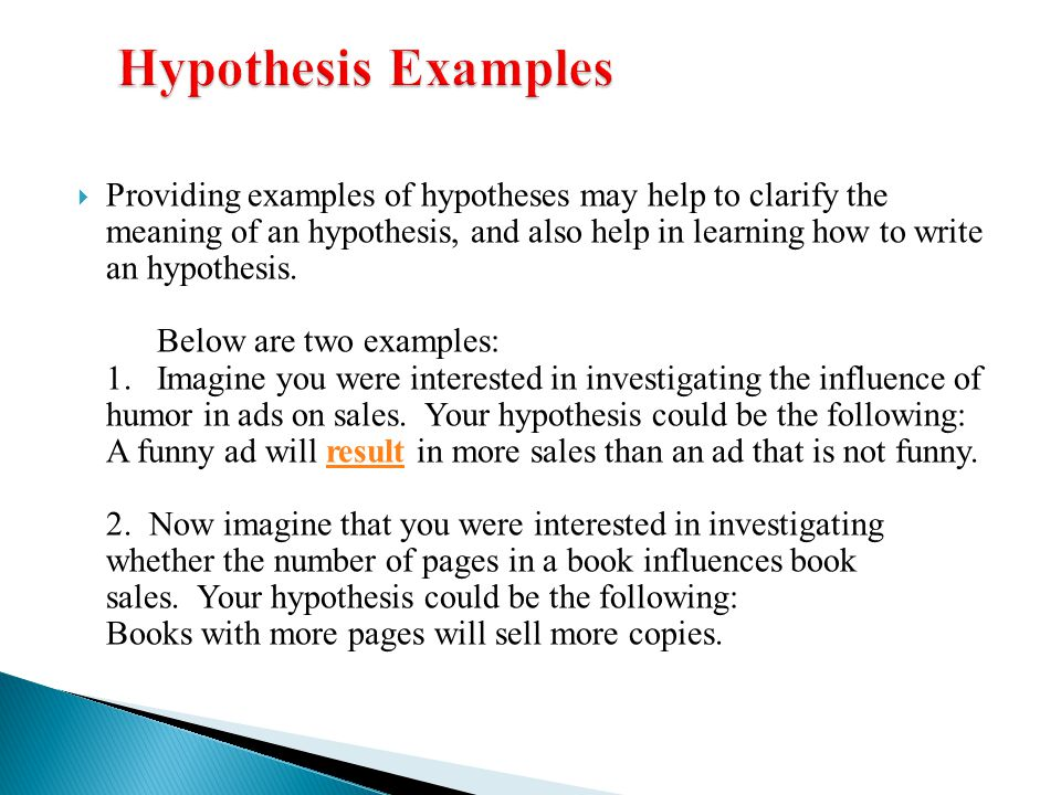 example of hypothesis Diana browning wright, behavior/discipline trainings, 2001 hypothesis 3  sample hypothesis statements and possible interventions 1 hypothesis.