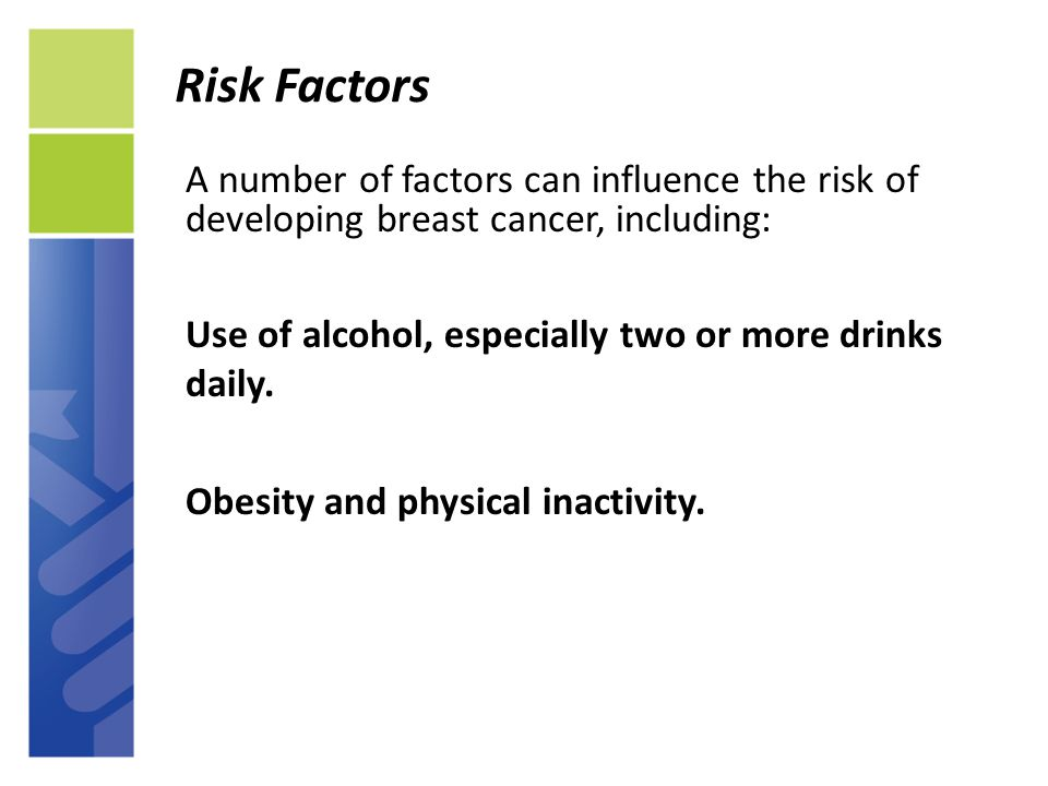 risk factors for the development of A breast cancer risk factor is anything that increases your risk of developing breast cancer learn more about breast cancer risk factors today.