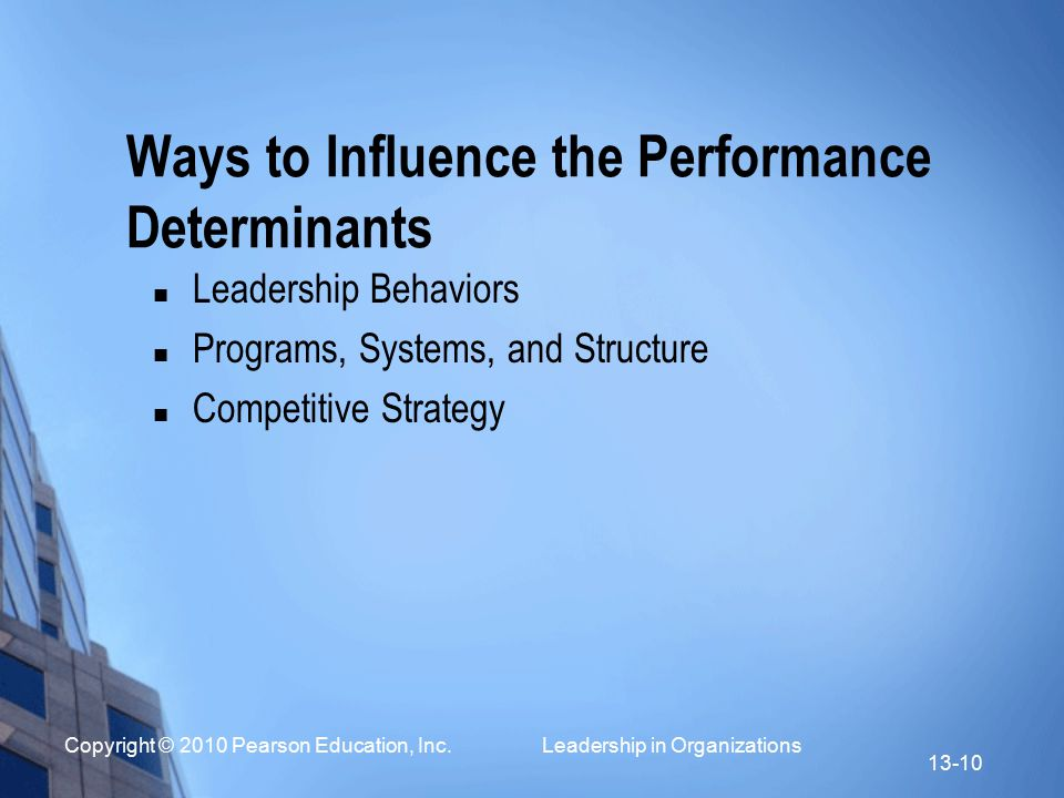 Ways to Influence the Performance Determinants
