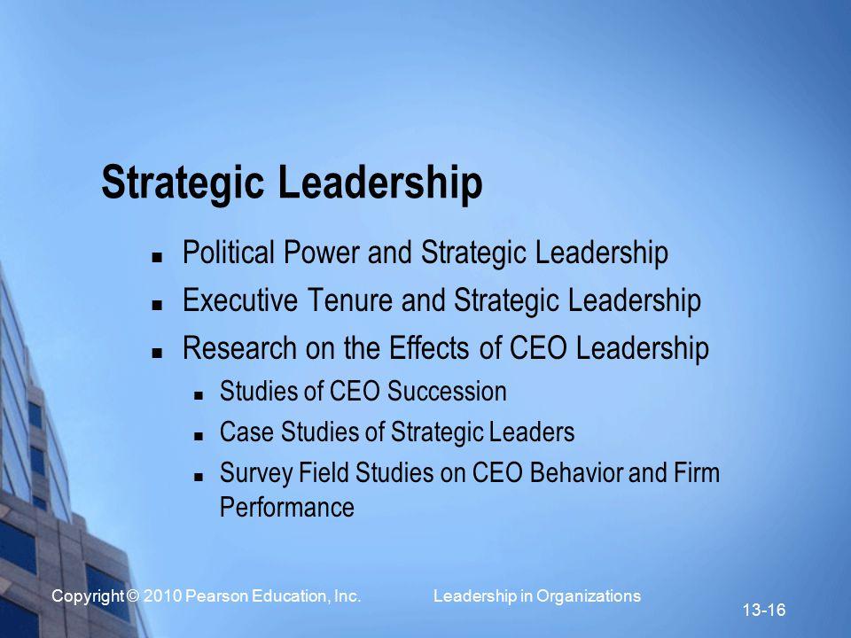 Strategic Leadership Political Power and Strategic Leadership