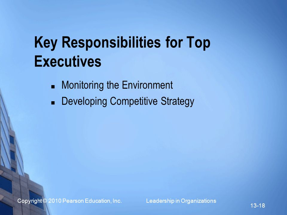 Key Responsibilities for Top Executives