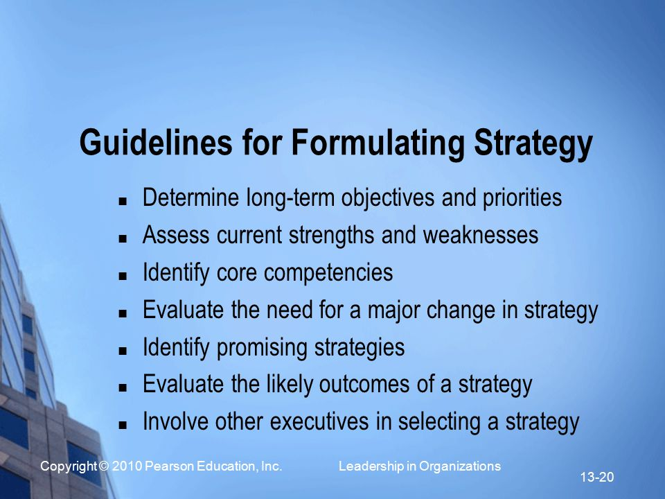 Guidelines for Formulating Strategy
