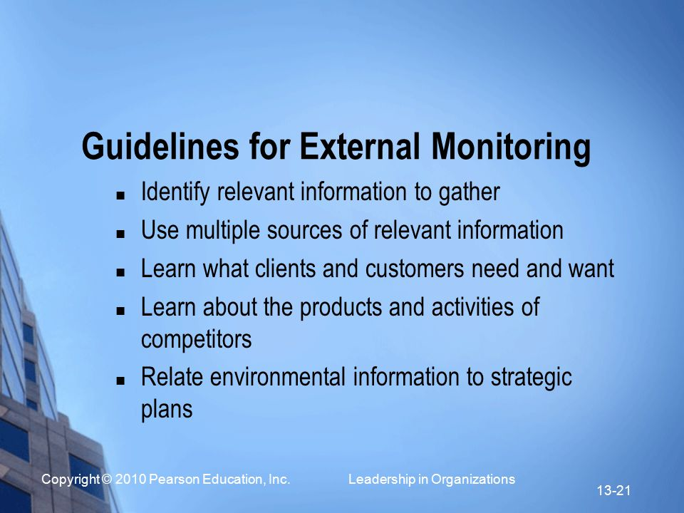 Guidelines for External Monitoring