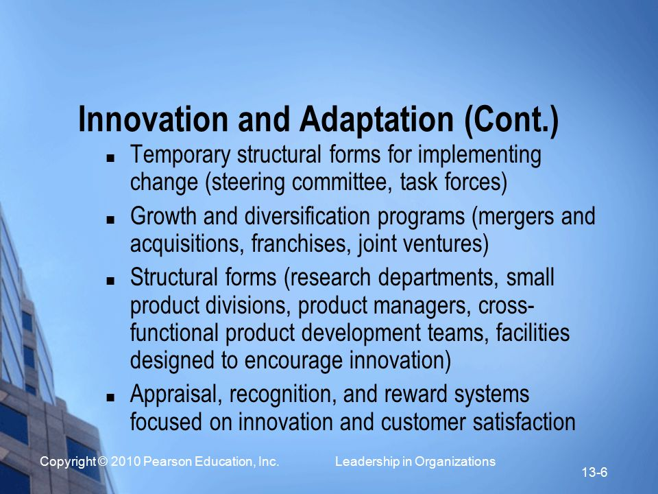 Innovation and Adaptation (Cont.)
