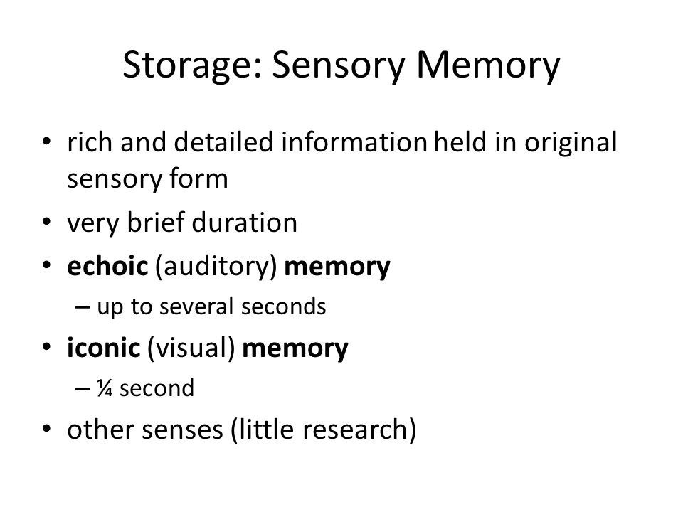 the amount of information stored in the iconic memory Iconic memory is the visual sensory memory (sm) register pertaining to the visual domain and a fast-decaying store of visual information it is a component of the visual memory system which.