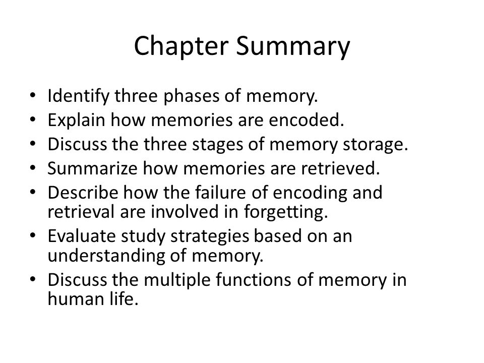 An overview of the study of memory and the principles of autobiographical memories