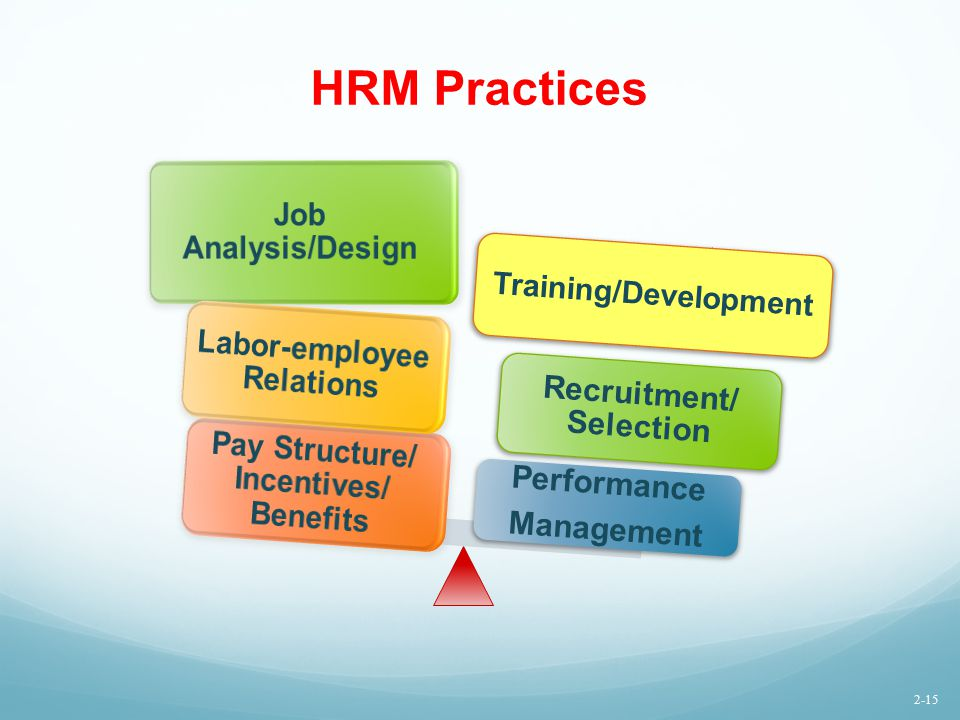 HRM Practices Job Analysis/Design Recruitment /Selection