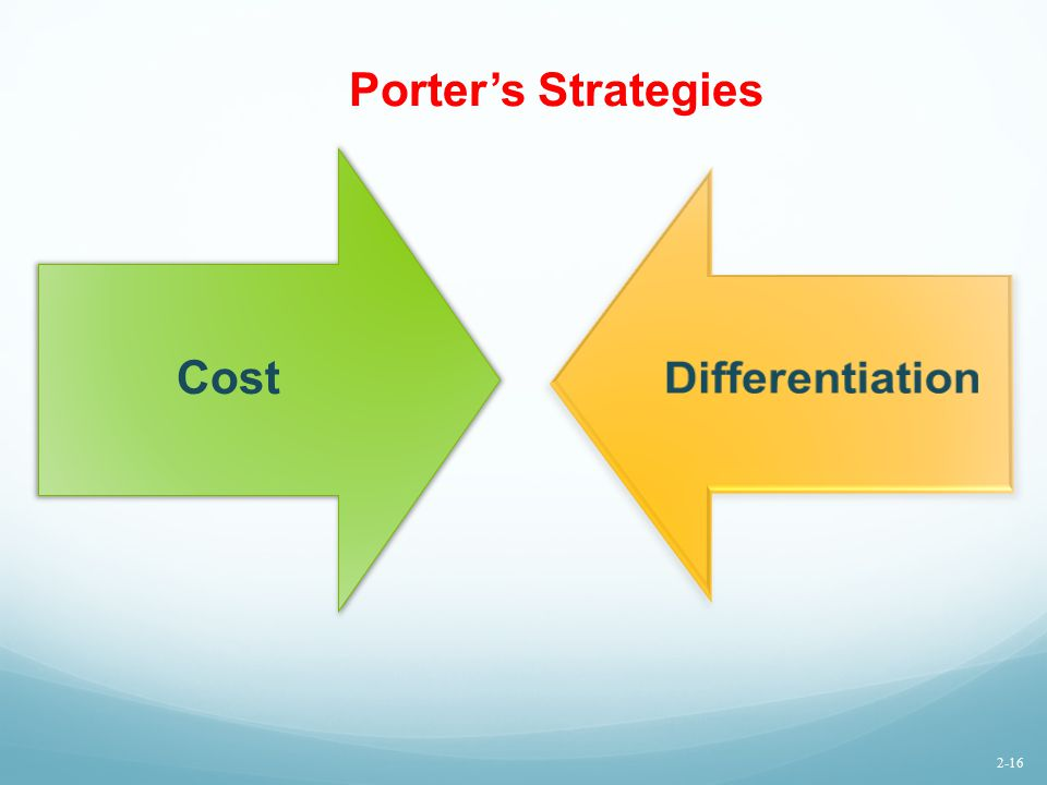 Porter's Strategies Cost Differentiation