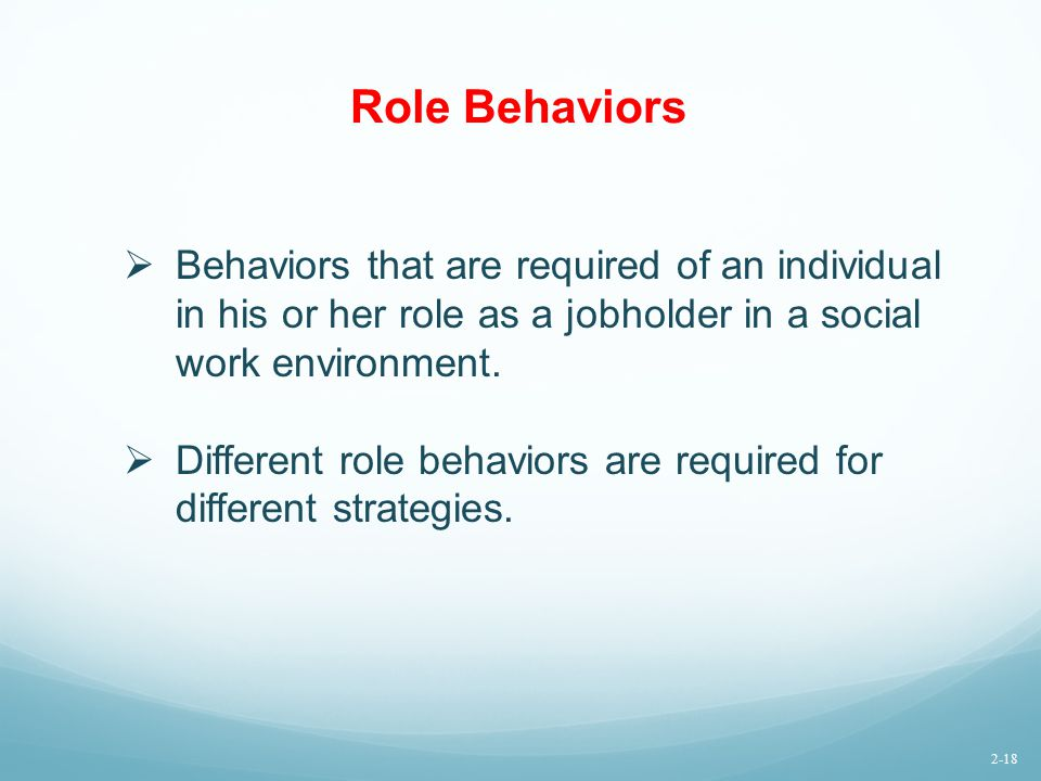 Role Behaviors Behaviors that are required of an individual in his or her role as a jobholder in a social work environment.