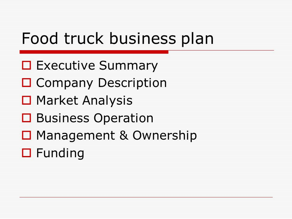 Food Truck Business Plan  Ppt Video Online Download