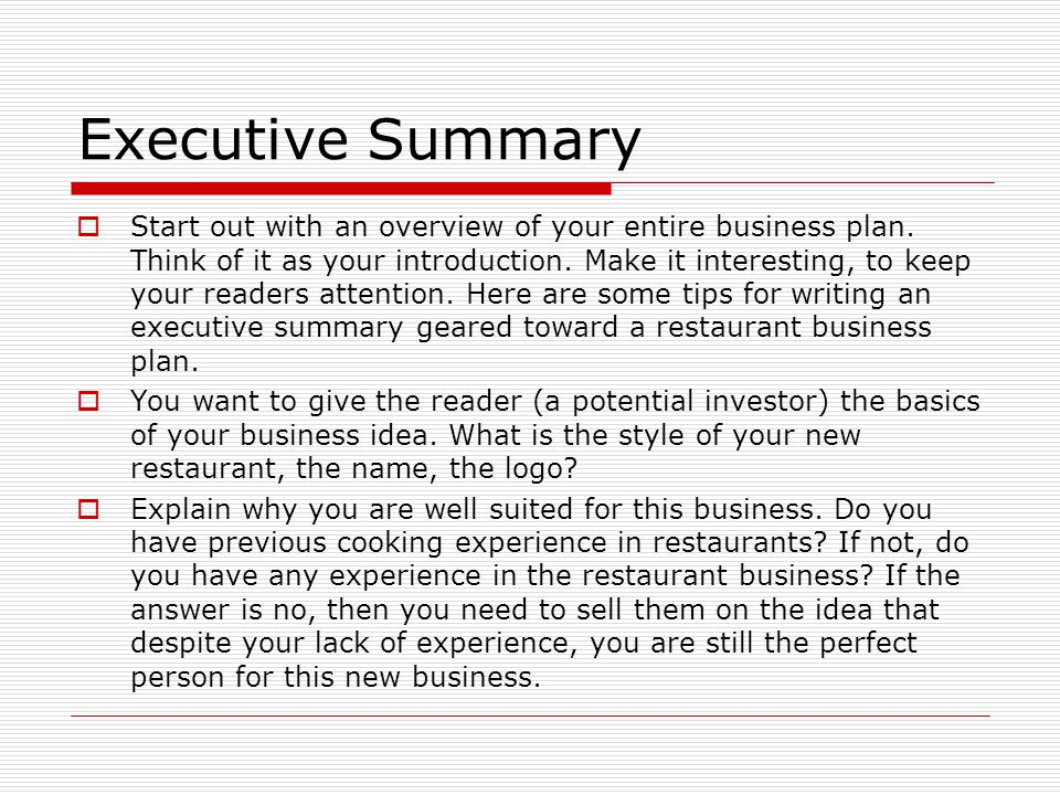 sample executive summary for business plan for a restaurant