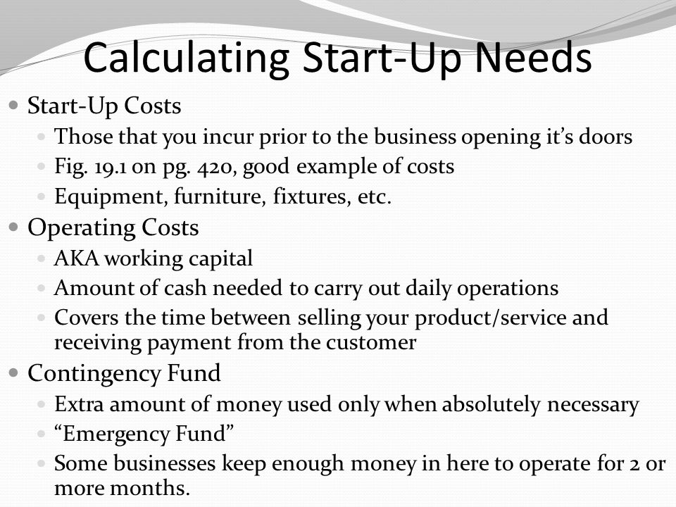 Calculating Start-Up Needs