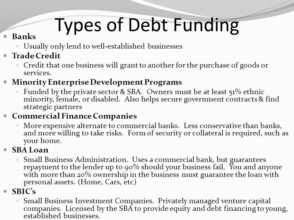 Types of Debt Funding Banks Trade Credit
