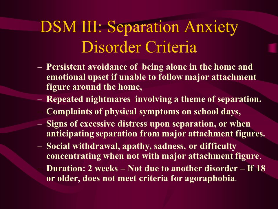 separation anxiety disorder essay Oppositional defiant disorder/ separation anxiety disorder print  if you are the original writer of this essay and no longer wish to have the essay published on .