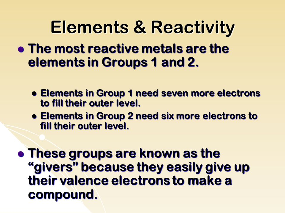 Elements & Reactivity The most reactive metals are the elements in Groups 1 and 2.