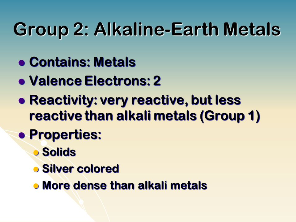 Group 2: Alkaline-Earth Metals