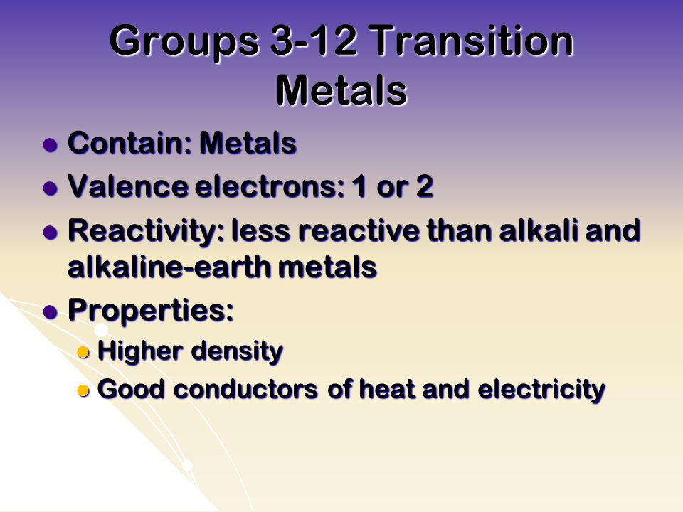 Groups 3-12 Transition Metals