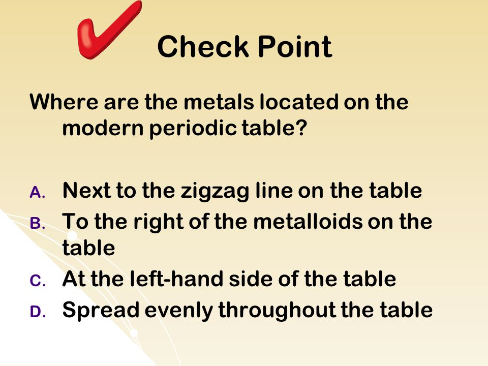 Check Point Where are the metals located on the modern periodic table
