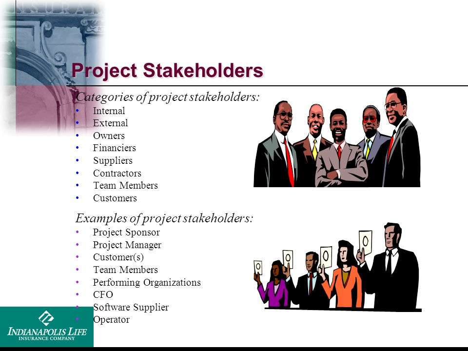 Project Stakeholders Categories of project stakeholders: