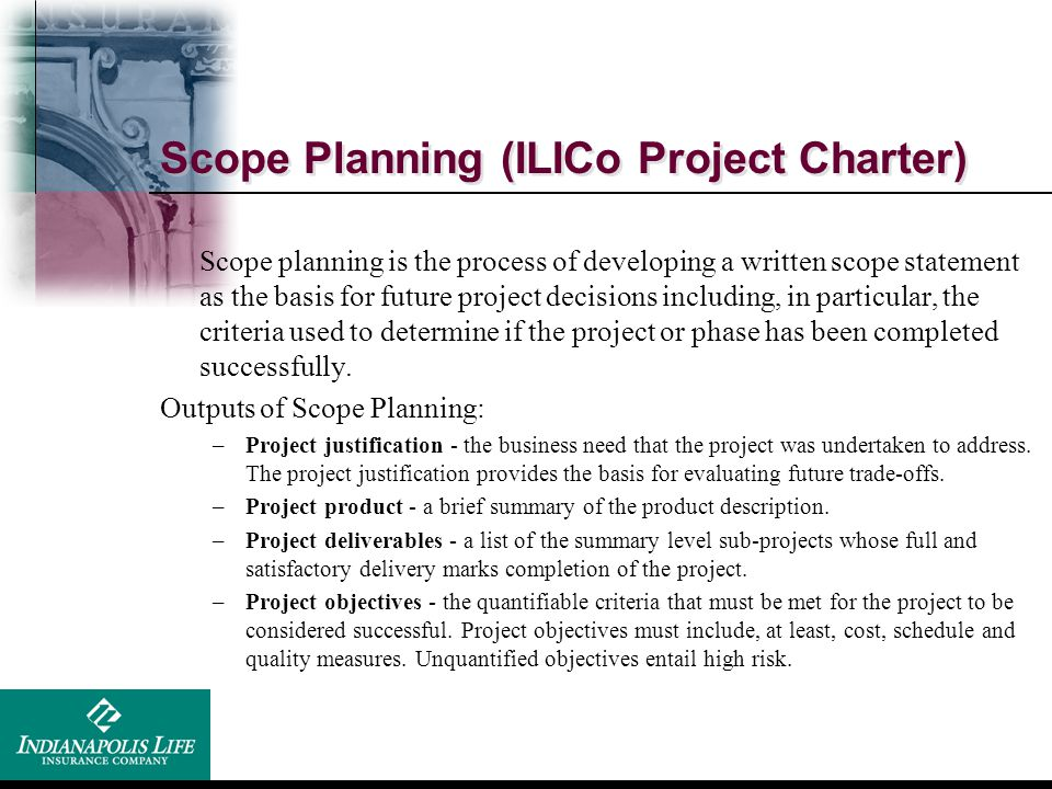 Scope Planning (ILICo Project Charter)
