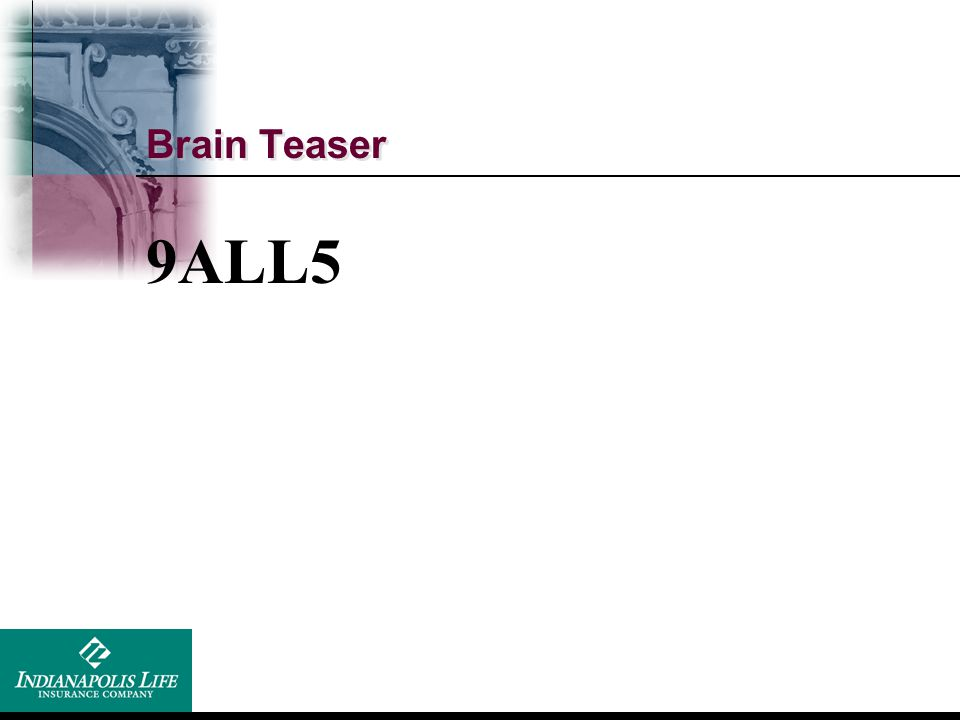 Brain Teaser 9ALL5 All in a day's work