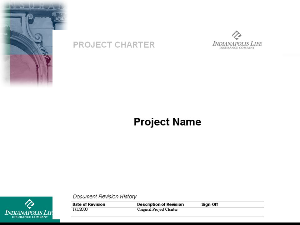 Show blank template of ILICO project charter template form.